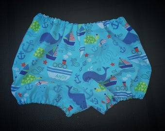 Whales Diaper Cover/Bloomers (Newborn, Infant, Toddler, Photo Prop)