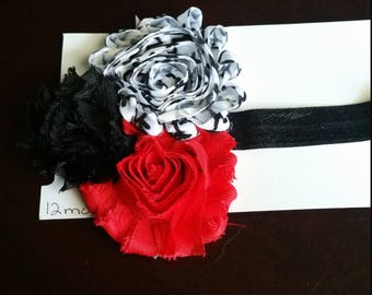 12 months to teen headband with red,black and white flowers on a black band