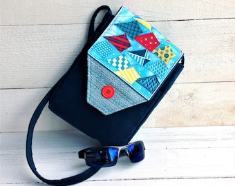 Small Crossbody purse with phone pocket, Kite theme, gift for her, velvet upholstery fabric, small travel bag, passport pocket, teal blue