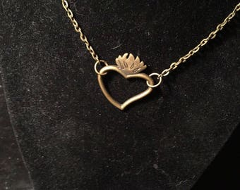 Brass tone heart necklace