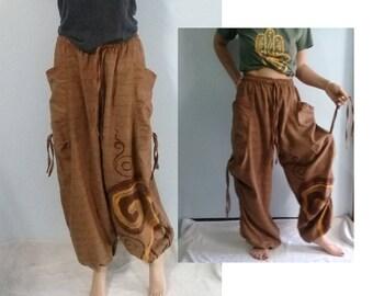 Baggy Pants Harem Balloon Pantalon Genie Zen Omm Adjustable Cotton Beige