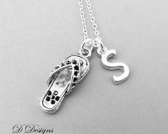 Flip Flop Necklace, Sterling Silver Flip Flop Pendant, Shoe Jewellery, Personalised  Necklace, Beach Necklace, Shoe Necklace,