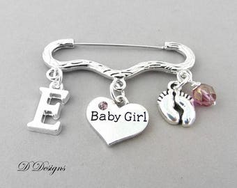 Baby Girl Brooch, Baby Girl Pin, Personalised New Baby Brooch, New Baby Gifts,  New Parent Gift