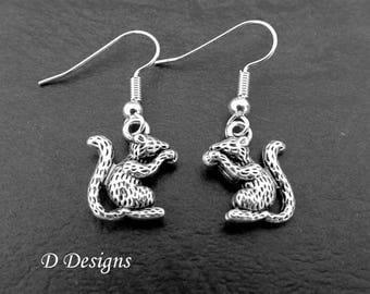 Mouse Earrings, Sterling Silver Mouse Charm Earrings, |Mouse Gifts, Mouse Jewellery, Novelty Earrings, Animal Earrings, Earwire earrings