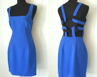 90s Cobalt Blue Mini Dress With  Cross Cross Strappy Open Back by Andrea Polizzi for Rex Lester | Labeled Size 10