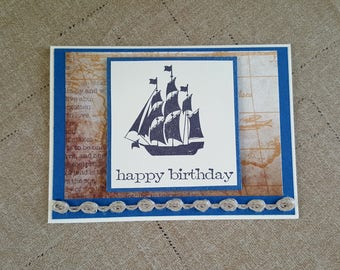 Sail Boat Birthday Card * Birthday Card with Ship