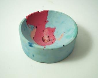 Pastel Blue & Berry Concrete Dish