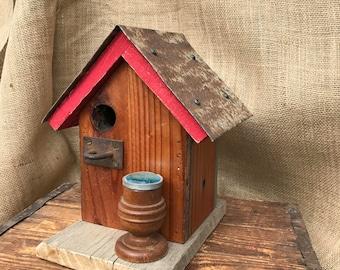Rustic redwood birdhouse, rustic, birdhouse, recycled, re-purposed, vintage