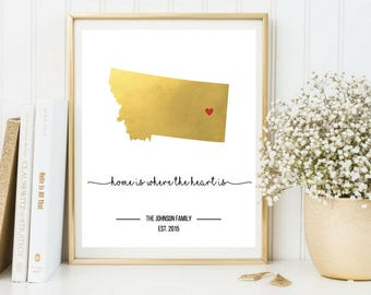 Gold Print, Home is Where the Heart Is Personalized, Home Decor Printable, Home is Where the Heart is Map, Housewarming Gift, Home Map Print