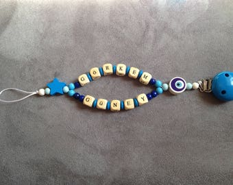 Personalized pacifier clip-pacifier beads made of wood with name: he Güney