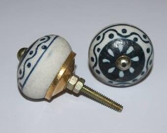 Handmade Round Ceramic Door Knobs Traditional Home Decor Door Handle Indian Printed Antique Door Closer 2 Pcs CD223