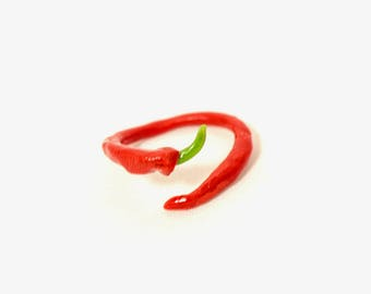 Red Pepper Ring (Polymer Clay) Adjustable Handmade Food Jewelry