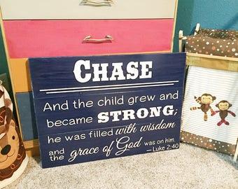 Boys Nursery Room Sign • Luke 2:40 • Shabby Chic Decor • Kids Bible Verse Plaque • Baby Shower Gift • Scripture Art • Over crib sign
