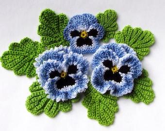 Irish Crochet Flower PATTERN Crochet Pansy PDF Pattern Instant Download Photo Tutorial Spring Flower Pansy Applique Pattern Crochet Bouquets