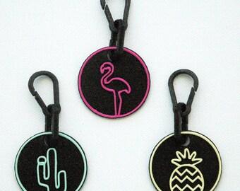 Neon, Bag Charm, Bag Pendant,Key Chain, Key Ring,Men's Keychain,Flamingo, Pineapple, Cactus, Gift for Dad, Gift for Grads, Gift for Grandma