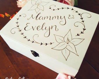 Large personalised box, custom wooden box, custom box, wooden box, wood burned box, storage box, keepsake box, pyrography box keepsake gift