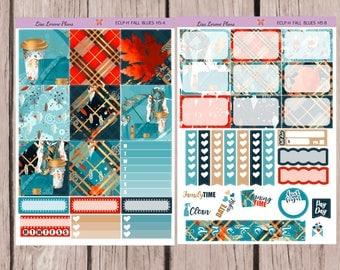 HORIZONTAL FALL BLUES Planner Sticker Kit | perfect for horizontal Erin Condren Life Planner