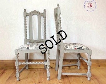 SOLD.....Pair of wooden rustic vintage chairs with padded upholstered seats