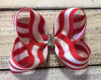 Christmas Boutique Hair Bows Red White Stripes Girls Hair Bow Girls Boutique Hair Bows Christmas Hair Bow Baby Hair Bows Holiday Hair Bow