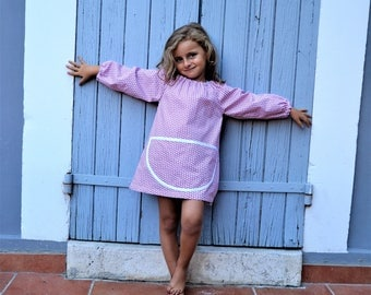 Girls 2-4 Years Long Sleeve Art Smock 100% Cotton Painting Apron Musky Pink Tablier Fille Maternelle Ecole Ecolier Rose 2-4 Ans