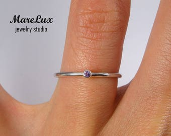 Natural Amethyst Stacking Silver Ring, February Birthstone Ring, 1.5 mm Round Cut Violet Amethyst Ring, Tiny Amethyst Silver Stackable Ring