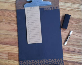 Vintage Upcycled Clipboard / Chalkboard Message Center / Office Organizer / Notes