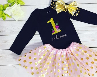 First Birthday Girl's outfit,One Girl's Birthday outfit, First Birthday personalized outfit,Made to order First Birthday  outfit