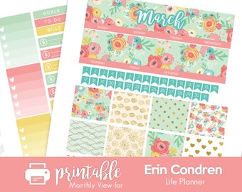 Printable Planner Stickers March Monthly View Kit! w/ Cut Files! Spring Flowers Theme! Foil. For use with Erin Condren1
