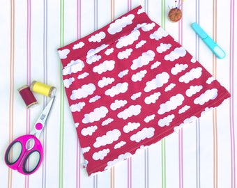 Girls mini skirt, stretch skirt, red skirt, girls star skirt, girls jersey skirt, organic skirt, girls skirt, jersey mini skirt