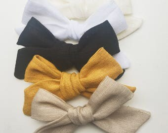 Linen Hand Tied school girl bows on nylon headband or alligator clip baby kids toddler black white mustard cream tan