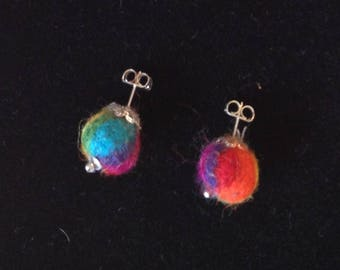 Rainbow Felted Stud Earrings