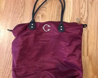 C Wonder Burgundy Nylon Tote Bag