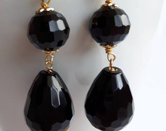Gemstone earrings with Black Onyx and silver