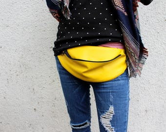 Yellow bum bag, Yellow Fanny pack, Waist bag, Hip Bag Autumn Gift