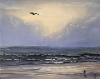 Seagull Painting, Coastal Landscape, Seascape, Ocean Sunrise Art, Beach Painting, Ocean Waves, Original Oil Painting on Canvas, Highflyer