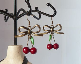 pinup cherries earrings tattoo boucles d'oreilles rockabilly tatouage