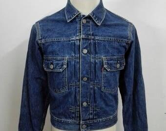 Vintage Levis Big E Selvedge Denim Jacket Blue Jeans Jacket Size 38