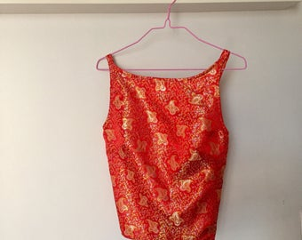 90s Asian Inspired Backless Red Silk Crop Top