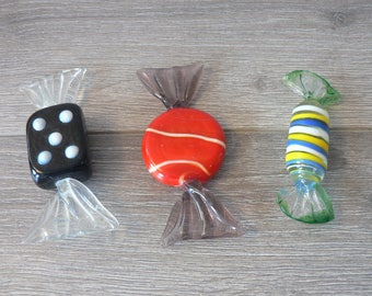 Murano Glass Candy Trio - Set of Three Colorful Glass Candies