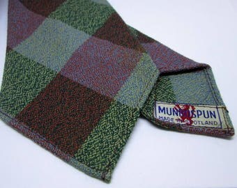 Vintage Munrospun Wool Tartan Plaided Mens Tie Necktie Made in Scotland Used Condition Worldwide Shipping