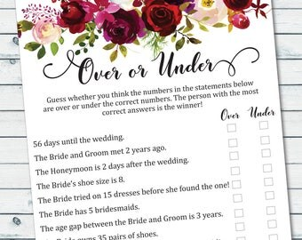 Over Or Under Game Printable, Floral Bridal Shower Games, Floral Over Or Under The Number Game, Bachelorette Games, Printable Bridal