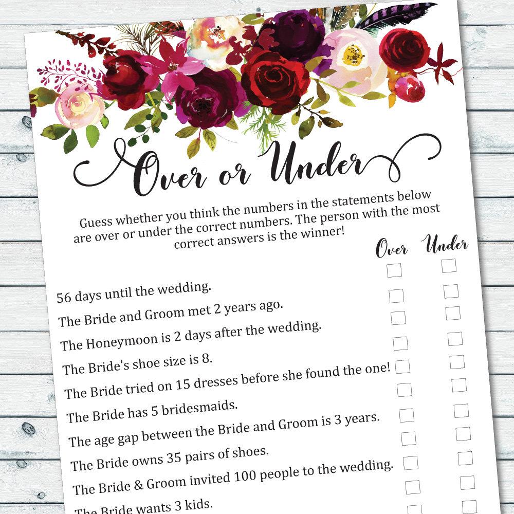Over or under game printable floral bridal shower games for Non traditional bridal shower games