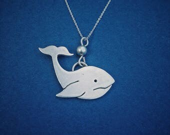 Whale Necklace, Sterling Silver Necklace, Blue Whale Necklace, Whale Pendant, Animal Jewellery