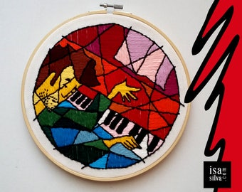 Embroidery Hoop Art-Piano-Embroidery with frame-Music-Classic-music
