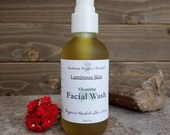 Organic Deep Cleansing Facial Wash, Vegan Facial Cleanser, Natural Botanical Face Soap, Organic Face Wash, Liquid Face Soap, Cleansing Wash