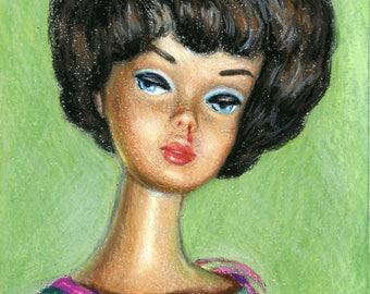 Bubblecut Barbie Brunette 1962 - signed limited edition print