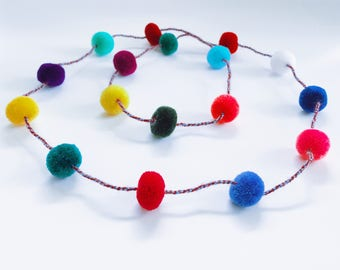 Pom pom necklace, festival style, boho flair, bohemian, gypsy necklace, hippie, boho chic, PomPom, tribal, boho necklace