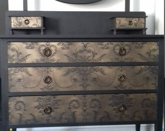 SOLD   SOLD   ELEGANCE lace pattern chest of drawers Annie Sloan