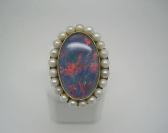 Layaway for Bridget 3 of 4 - Vintage gold, opal & pearl ring