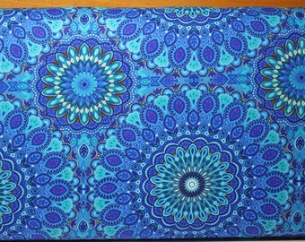 Mosaic Plume by Chong-A Hwang for Timeless Treasures.  This is a companion fabric for the peacock panel.